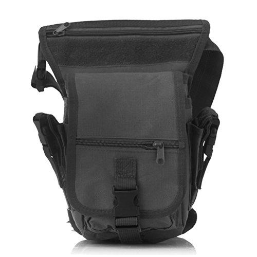 Hüfttasche OLLIVAN® Sportlich Beintasche Außen Beinbeute abwaschbar 600D Oxford Nyl wasserdicht Tasche für Camping Wandern (schwarz)