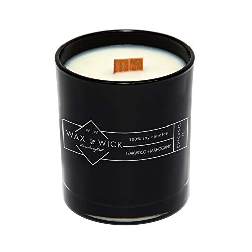 Scented Soy Candle: 100% Pure Soy Wax with Wood Double Wick   Burns Cleanly up to 60 Hrs   Teakwood + Mahogany Scent with Notes of Teakwood and Mahogany   12 oz Black Jar by Wax and Wick - Pure Soy Jar Candle