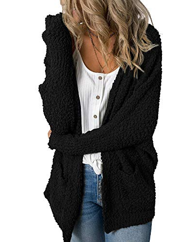 Imily Bela Womens Fuzzy Chunky Cardigan Popcorn Oversized Sherpa Slouchy Open Sweater Coat Black