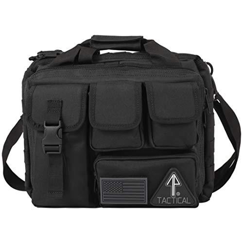 14er Tactical Gun Range Bag | Custom Pistol & Ammo Pockets | 600D Ballistic Polyester & Self-Healing Zippers | Flag Patch & MOLLE Compatible PALS Webbing | Perfect Shooting Duffle (Regular, Black)