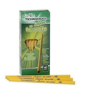 Dixon Ticonderoga Laddie Tri-Write Triangular Shaped Intermediate #2 Pencils Without Erasers, Yellow (13044) (2-Pack of 36) by Dixon Ticonderoga (Image #3)