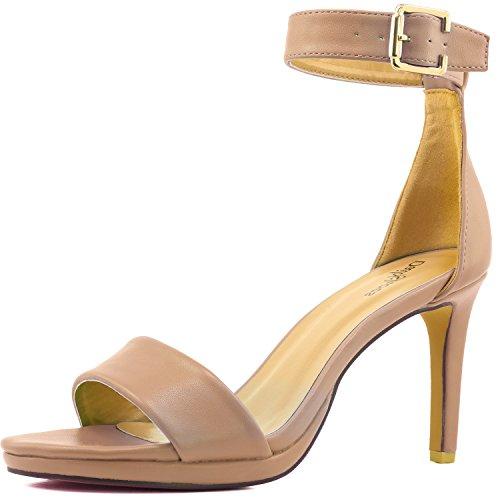 Ankle Buckle Sandal Heels - 5