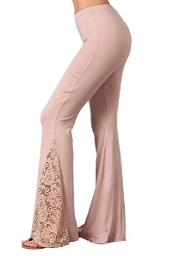 Zoozie LA Women's Bell Bottoms Yoga Stretch Pants Flare Lace Taupe S