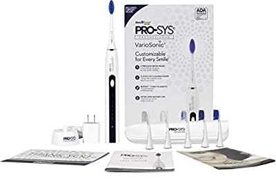 PRO-SYS VarioSonic Electric Toothbrush with 25 Customizable Cleaning Options - 5 Replacement DuPont Bristle Brush Head Types, 5 Brushing Speeds with Electronic Rechargeable Battery Charging Dock