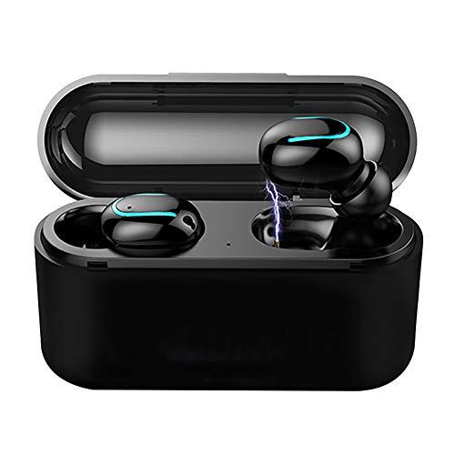 Wireless Earbuds Bluetooth V5.0 Headphones, IPX5 Waterproof in-Ear Wireless Charging Case TWS Noise Canceling Handsfree Bass Stereo in-Ear Earbuds Earphones (Black)
