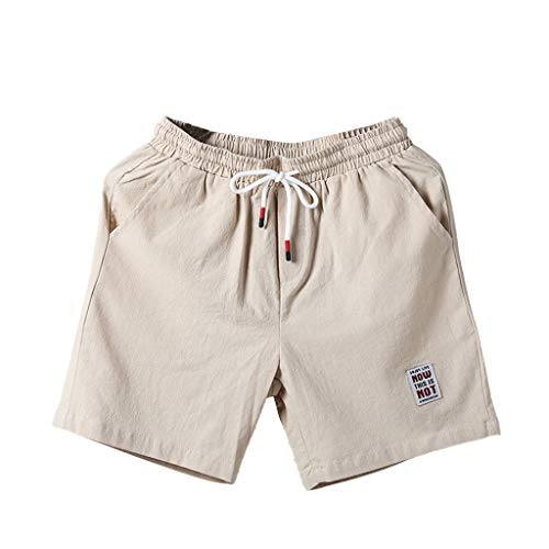 - Creazrise Men's Summer Fashion Casual Loose Belt Drawstring Beach Sports Comfort Stretch Canvas Short Pants Beige