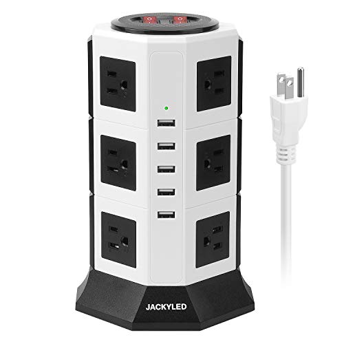 Surge Protector Power Strip Tower JACKYLED 12 AC Outlets 3000W 15A and 5 USB 8A Desktop Smart Universal Charging Station Multiple Protection Heavy Duty 6.5ft 14 AWG Extension Cord White and Black from JACKYLED