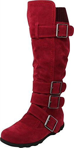 Cambridge Select Women's Buckle Sweater Knit Flat Knee-High Boot Wine