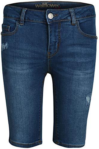 'WallFlower Girls Bermuda Soft Stretch Denim Shorts (Medium Wash W/Stars, 8)'