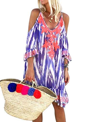 FIYOTE Women V Neck Off Shoulder Boho Print Crochet Chiffon Loose Plus Size Swimsuit Cover up Swimwear X-Large Size Purple