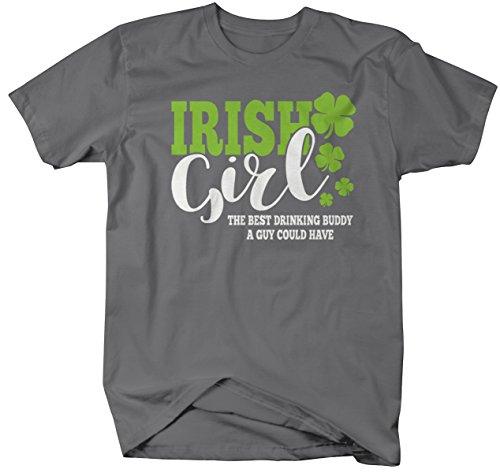Shirts By Sarah Men's Funny St. Patrick's Day T-Shirt Irish Girl Drinking Buddy (Charcoal 2XL)
