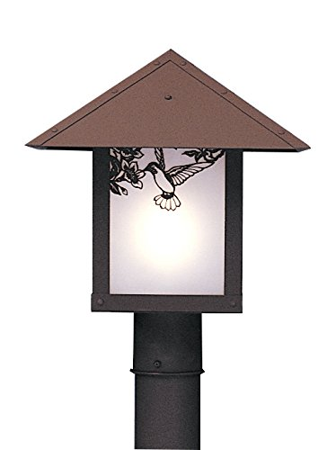 Arroyo Craftsman EP-12TWO-MB Evergreen Post Mount Light Fixture with T-Bar Overlay, 12