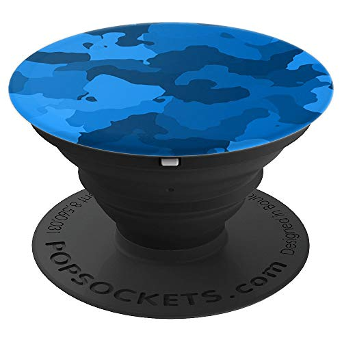 Camo Pop Socket Blue - Camouflage PopSocket Blue Design - PopSockets Grip and Stand for Phones and Tablets