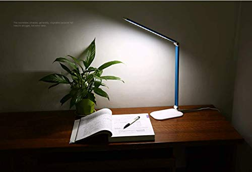LED Helligkeitsstufen Lampenarm einstellbar einstellbar einstellbar USB Anschluss Aufladen von mit Touch dimmbarAugenschutz-Tischlampe, blau B07Q8VYCQ7   Um Zuerst Unter ähnlichen Produkten Rang  af5acc