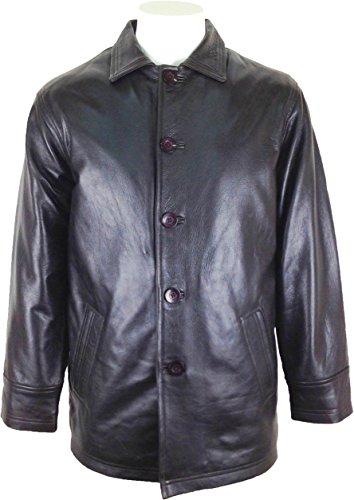 UNICORN Männer Klassisch Lange Mantel Echte Leder Jacke Braun #BE