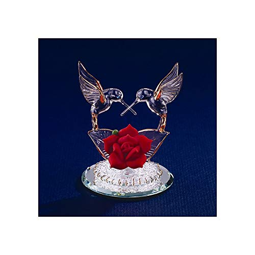 Hummingbirds & Red Rose Glass Figurine