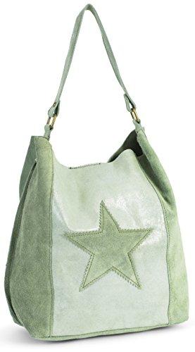 LiaTalia Largo bolso con motivo de estrellas de tipo hobo/cabas de gamuza suave- 'Serene' Verde Oliva