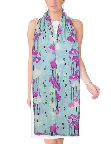 Dahlia Women's 100% Merino Wool Pashmina Scarf - Raindrops and Flower - Mint Blue