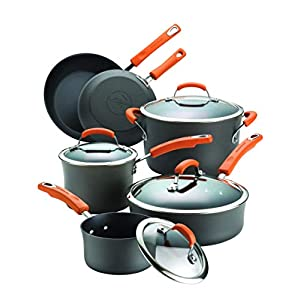 Rachael Ray Brights Hard-Anodized Aluminum Nonstick Cookware Set with Glass Lids, 10-Piece Pot and Pan Set, Gray with…