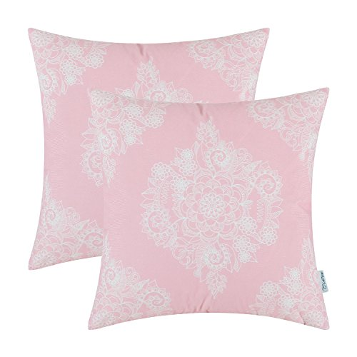 Set Bed Hand Painted (CaliTime Pack of 2 Cozy Throw Pillow Cases Covers for Couch Bed Sofa Manual Hand Painted Print Vintage Mandala Floral 18 X 18 Inches Light Pink)