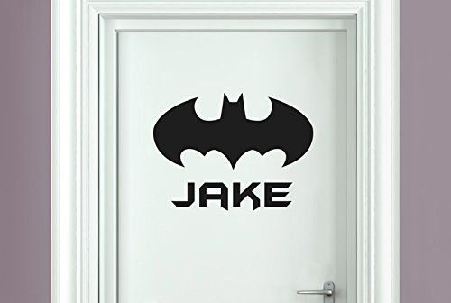 personalised batman boys sign door room stickers art decals - Black (Height 30cm x Width (Batman Border)