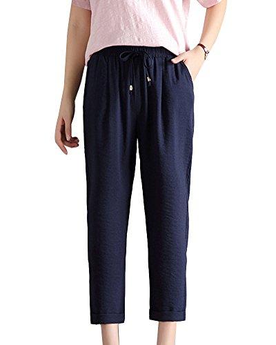 Elástica Cintura Grandes Casuales Longitud Del Pantalones Tallas Tobillo Damen Navy 4qwCgX