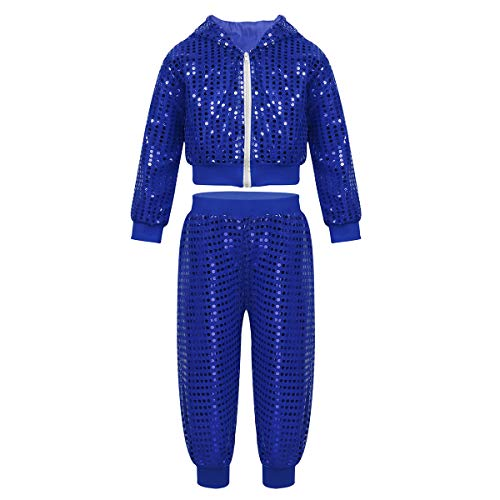 YOOJIA Unisex Boys Girls Sequins Long Sleeve Hooded Jacket Pants Set Jazz Hip-Hop Performance Street Dancing Blue 5-6 -