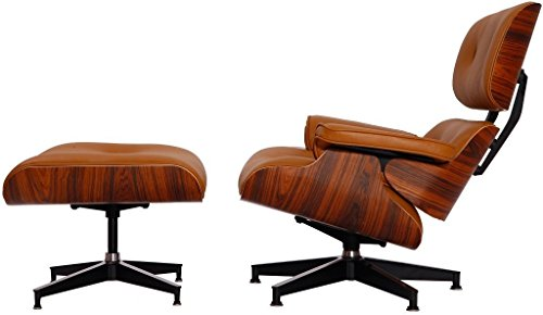 Modern Sources - Mid-Century Plywood Lounge Chair & Ottoman Eames Replica Leather Light Brown Palisander