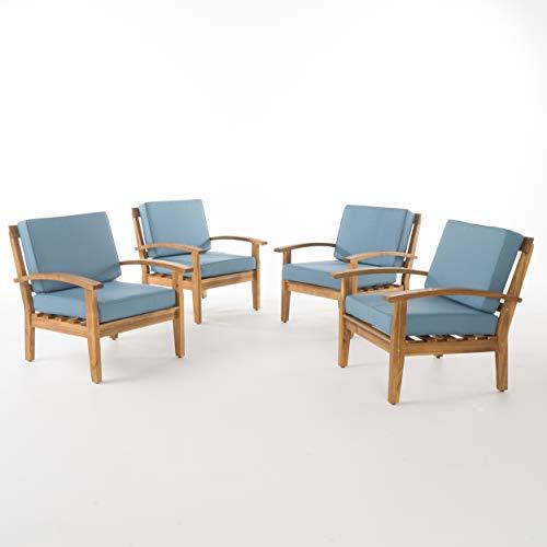 (GDF Studio Preston Outdoor Wooden Club Chairs w/Blue Cushions (Set of 4))