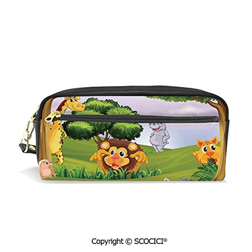 Printed Pencil Case Large Capacity Pen Bag Makeup Bag Animals in The Forest Cartoon Illustration African Safari Jungle Ecosystem Greenery for School Office Work College Travel (Ecosystem Life Planner)