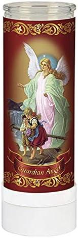 Devotional Guardian Angel Electric Prayer flameless LED Candle 8 Tall Veladora de Oraci n sin Llama