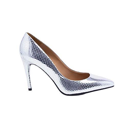 Vanessa Raquel Silver Leather Stiletto Court Shoe London