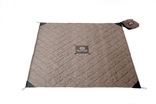 Monkey Mat – Quilted Mat Lightweight Luxurious Water Repellant Picnic Travel Blanket with Corner Weights – 5 x 5 Gray Groove