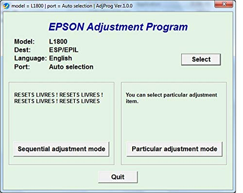 Adjustment Program Resetter Multi PC Compatible With Epson L1800