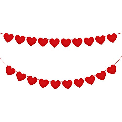 Konsait 5M/16.4FT valentine Felt Heart Garland Banner Red Love Heart Bunting Decoration for Valentine