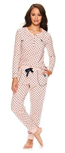 U.S. Polo Assn. Womens Long Sleeve Shirt with Cuffed Pajama Pants Sleep Set Dusty Rose Small