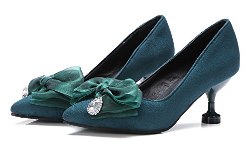 Aisun Womens Elegant Party Pointy Toe Dress Slip On Kitten Heels Pumps Shoes With Bows Green xl64QOR