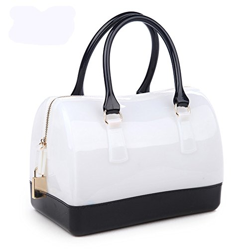 Ladies Summer Jelly Pillow-shaped Top Handle Handbag Candy Color Transparent Crystal Purse (White Black)