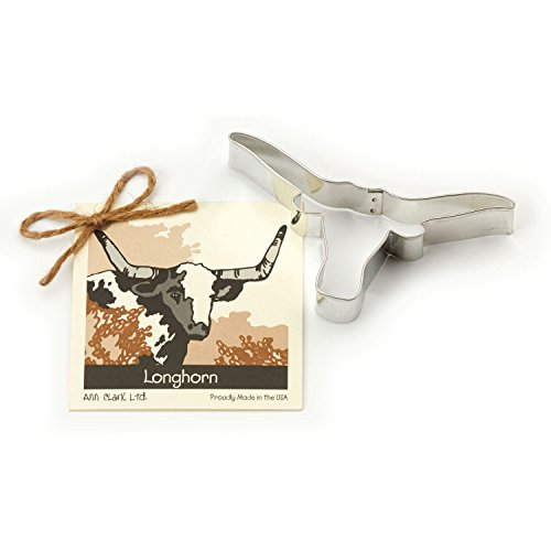 Longhorn Cookie and Fondant Cutter - Ann Clark - 5.1 Inches - US Tin Plated Steel (Rodeo Cookie Cutters compare prices)