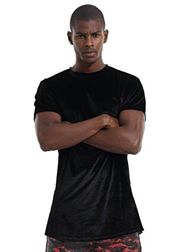 Pizoff Unisex Hip Hop Velvet Velour Side Zip Up Longline Curved Hem Luxury T Shirts Y1520-Black-M