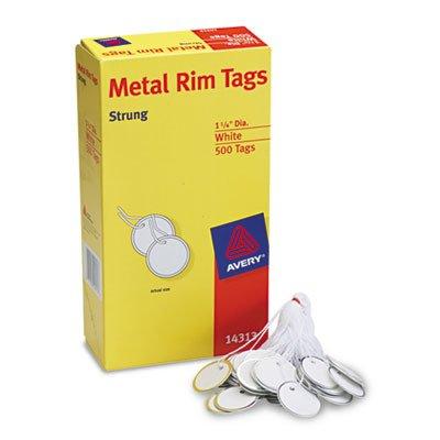 Averyamp;reg; Metal Rim Marking Tags, Paper/Twine/Metal, 1 1/4amp;quot; Diameter, White, 500 per Box