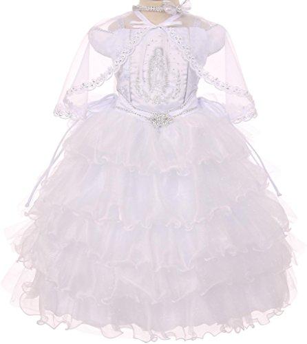 Little Girls' Ruffles Virgin Mary Embroidery Baptism Girl Dresses White 6 by Pepi Dreamer