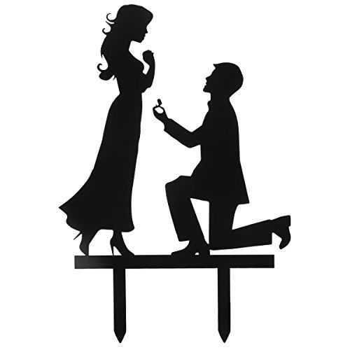 Grinde NO Personalized Engagement Wedding Cake Topper Decoration Marriage Proposal Black