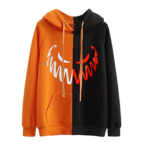 MEEYA Halloween Horror Print Hooded Sweatshirts for Women, Long Sleeve Orange Pullovers Casual Tops (S-3XL)]()
