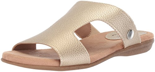 LifeStride Women's BAHA Flat Sandal, Gold, 7.5 M (Lifestride Shoes Com)