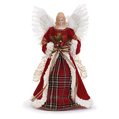 Napco Imports Red Plaid Holly Berry 16 Inch Angel Figurine Christmas Tree Topper