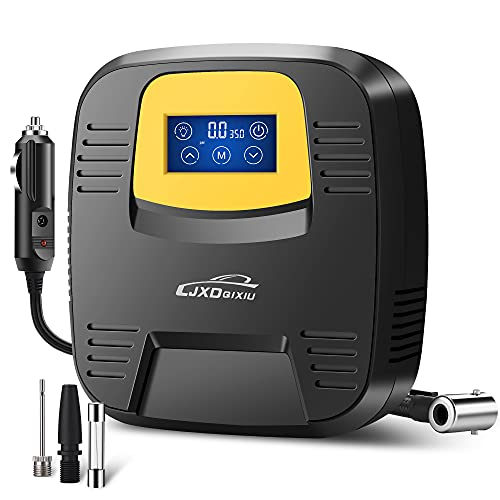 LJXDQIXIU Air Compressor Tire Inflator - Portable DC 12V 120PSI Auto Air Pump - Digital Pressure Gauge, Touchscreen and Emergency LED Light - Car Tire, Bicycle, Basketball and Other Inflatables