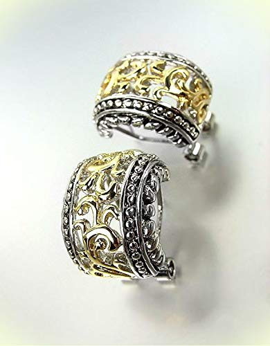 (Designer Style Balinese Silver Dots Gold Filigree Huggie Omega Latch Earrings For Women Set)