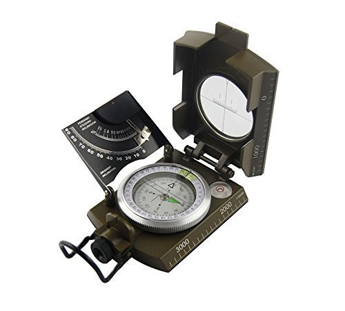 Shaddock Fishing ® Outdoor Camping Hiking Portable Compass Navigation Tool--Magnifying Compass Hiking Camping Boating Map Reading Orienteering,Waterproof Hiking Military Navigation Compass with Pouch Lanyard,Brass Round Golden Compass Navigation,LED Light Sea Marine Military Compass (Military Navigation Compass(K4074))