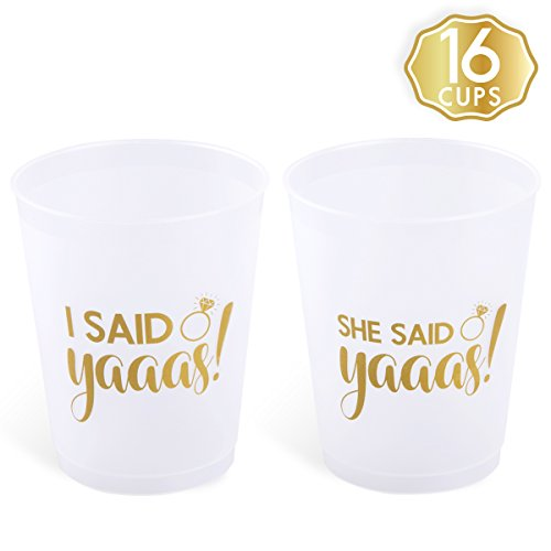 Team Party Decoration (She Said Yaaas Bachelorette Party + Bridal Shower Cups w/ BONUS I Said Yaaas Style - 16 Count, 16 Oz. | Engagement Party Decoration and Bride To Be Gift)